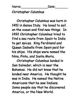 Christopher Columbus Reading Comprehension