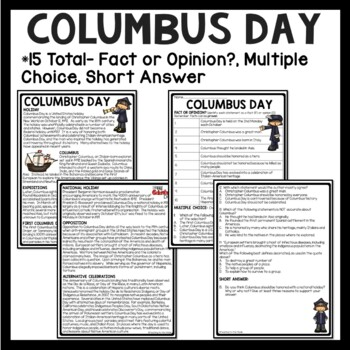 Christopher Columbus Reading Comprehension Bundle, Columbus Day