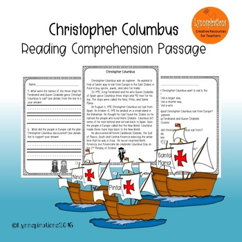 Christopher Columbus  Reading Comprehension Passage for Gr
