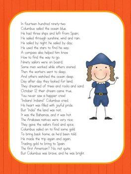 Christopher Columbus Sailed the Ocean Blue - Poem Copy Work