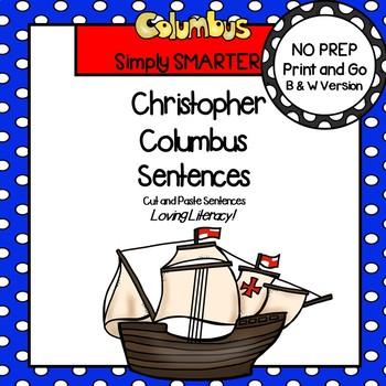 Christopher Columbus Sentences:  NO PREP Cut and Paste Sentences