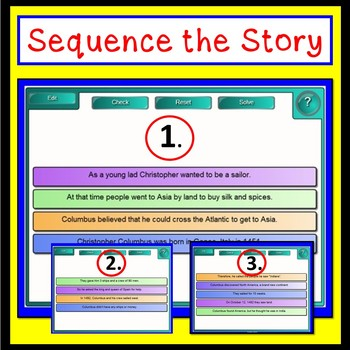 Smartboard Columbus Day Sequencing Story