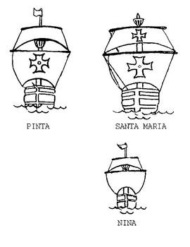 Christopher Columbus Unit - Drawings of the Nina, Pinta, and Santa Maria