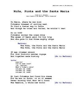 """Christopher Columbus Unit - """"Nina, Pinta and the Santa Maria"""" Song Lyrics"""