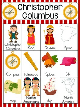 Christopher Columbus Vocabulary Cards