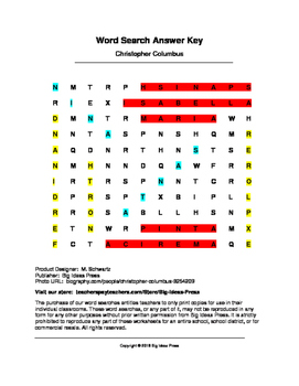 Christopher Columbus Word Search (Grades 2-4)