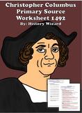 Christopher Columbus Primary Source Worksheet 1492