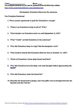 Christopher Columbus Primary Source Worksheet 1492 by History Wizard
