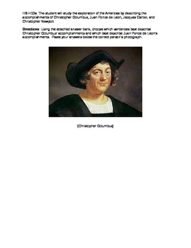Christopher Columbus and Ponce de Leon Character Sort
