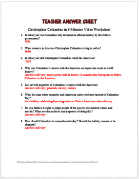 Christopher Columbus in 5 Minutes Video Worksheet