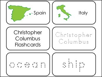 Christopher Columbus themed Picture Word Flash Cards.