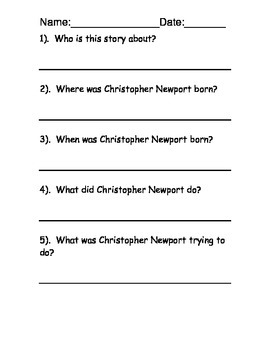 Christopher Newport Reading Comprehension