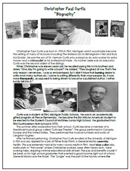 Christopher Paul Curtis Author Study, Bio, Reading Response, Activities, More