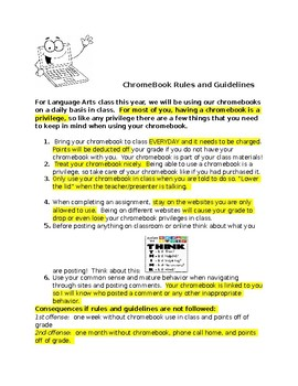 Chrome Book Rules and Guidelines-Beginning of the Year