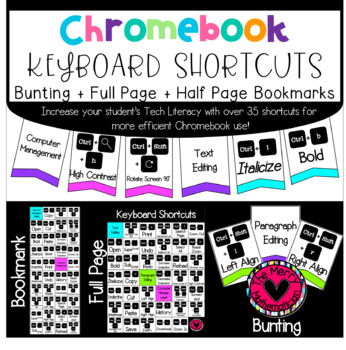 Chromebook Keyboard Shortcuts Bunting, Full Page Poster, and Half Page Bookmarks