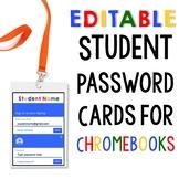 EDITABLE Chromebook Password Log In Cards