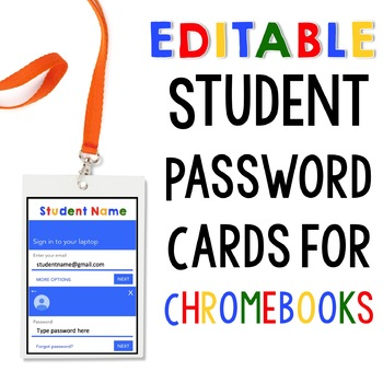 EDITABLE Chromebook Password Log In Cards