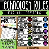Technology Rules Posters and Student Contract EDITABLE
