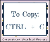 Chromebook Shortcut Posters-Navy Blue & Gold, two sizes