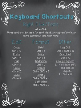Chromebook or Chrome Notebook Chalkin' Up Shortcuts Teal