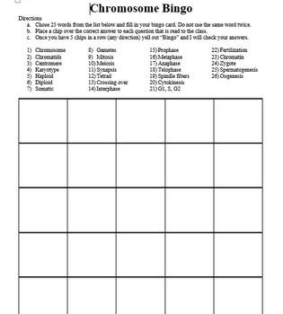 Chromosome Bingo Game