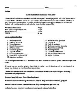 Chromosome Disorders (Genetic mutations) Project