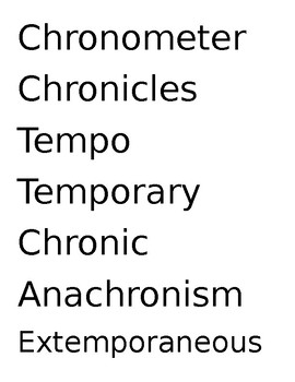 Chron, Temp Vocab Words and Quiz