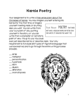 Chronicles of Narnia Figurative Language Poetry