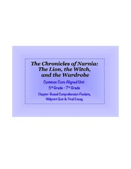 Chronicles of Narnia Comprehension Study Guides for 5th -