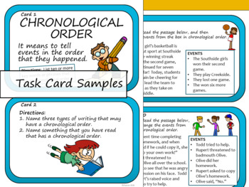 Chronological Order Text Structure -Task Cards and Slide Presentation