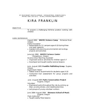 Chronological and Functional Resumes