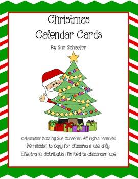 Chrsitmas Time Calendar Cards