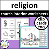 Parts of a Catholic Church Worksheets and Clip Cards