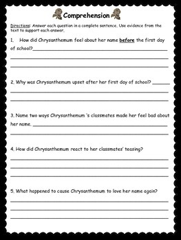 Chrysanthemum Book Study and Activities: Vocab, Comprehension, and More!