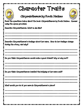 Character Traits Worksheets | Teachers Pay Teachers
