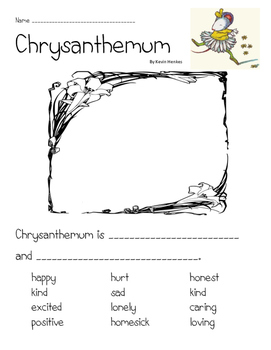 Chrysanthemum Character Traits Writing page