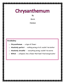 Chrysanthemum Comprehension Activities