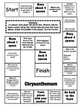 """Chrysanthemum"" Comprehension Game Board"