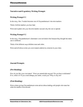 Chrysanthemum-Reading Literature Guide