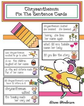 "Chrysanthemum Activities: Chrysanthemum ""Fix The Sentence"" Cards"