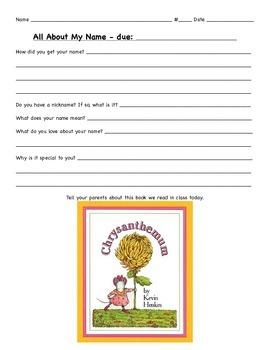Chrysanthemum History of a Name Writing