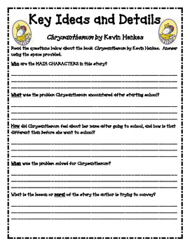 Chrysanthemum Key Ideas and Details Worksheet