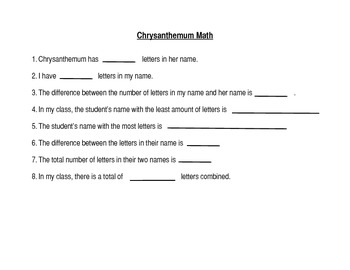 Chrysanthemum Math Get to Know You