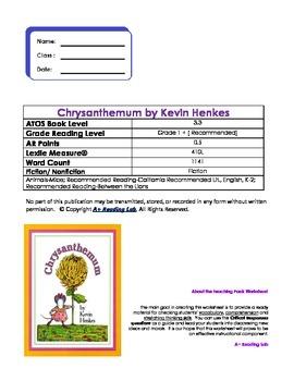 Chrysanthemum Novel Study Pack