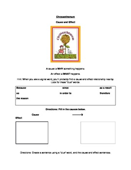 Chrysanthemum Reading Comprehension Packet
