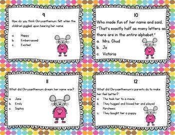 Chrysanthemum Activities Task Cards! (Reading Comprehension)