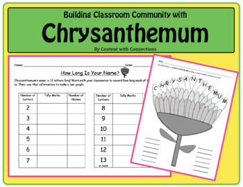 Chrysanthemum-Themed First Week of School Activities Incl. Name Graph