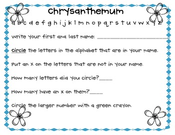 Chrysanthemum {Using Our Names to Help Us Learn}