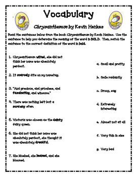 Chrysanthemum Vocabulary Worksheets