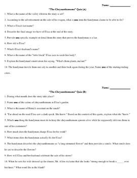 Chrysanthemums Quiz (Steinbeck)